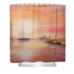 Sunset At The Marina Shower Curtain by Chris Fraser