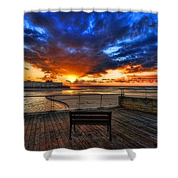 Shower Curtain featuring the photograph sunset at the port of Tel Aviv by Ron Shoshani
