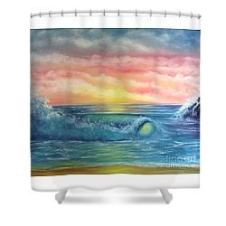 Sunset At The Seashore  Shower Curtain by Becky Lupe