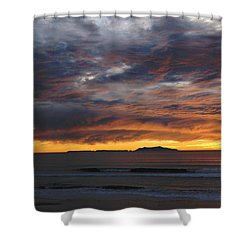 Sunset At The Shores Shower Curtain by Janice Westerberg