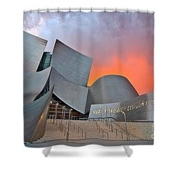 Sunset At The Walt Disney Concert Hall In Downtown Los Angeles. Shower Curtain by Jamie Pham