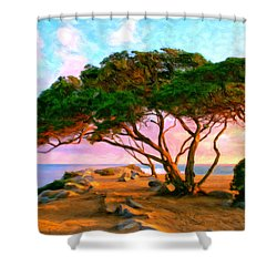 Sunset At The Wedge In Newport Beach Shower Curtain