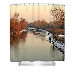 Sunset At The Winterly River Shower Curtain