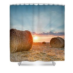 Sunset Bales Shower Curtain by Evgeni Dinev