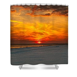 Shower Curtain featuring the photograph Sunset Beach New York by Chris Lord