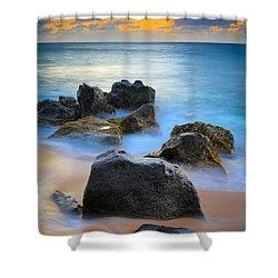 Sunset Beach Rocks Shower Curtain by Inge Johnsson