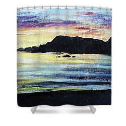 Shower Curtain featuring the painting Sunset Beach by Shana Rowe Jackson