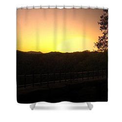 Shower Curtain featuring the photograph Sunset Behind Hills by Jonny D