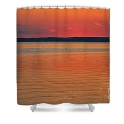 Shower Curtain featuring the photograph Sunset Behind The Horizon by Ella Kaye Dickey