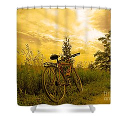 Sunset Biking Shower Curtain