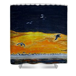 Sunset Birds Shower Curtain by Sonali Gangane