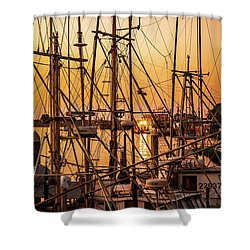 Sunset Boat Masts At Dock Morro Bay Marina Fine Art Photography Print Sale Shower Curtain by Jerry Cowart