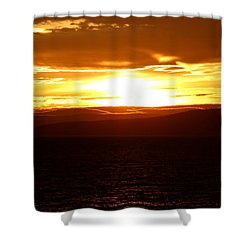 Sunset By The Fjord Shower Curtain