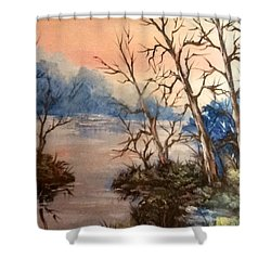 Shower Curtain featuring the painting Sunset Calm by Megan Walsh