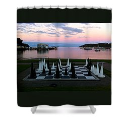 Sunset Chess At Half Moon Bay Shower Curtain by Venetia Featherstone-Witty