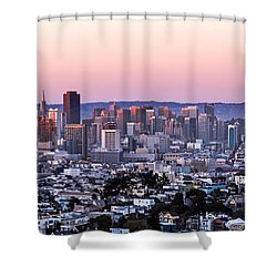 Shower Curtain featuring the photograph Sunset Cityscape by Kate Brown