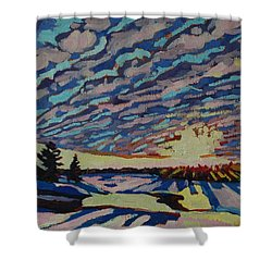 Sunset Deformation Shower Curtain by Phil Chadwick