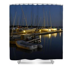Sunset Dock Shower Curtain by Charles Beeler