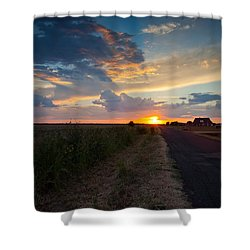 Sunset Down A Country Road Shower Curtain by Mark Alder