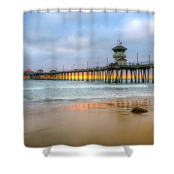 Sunset Drifting Under The Pier Shower Curtain