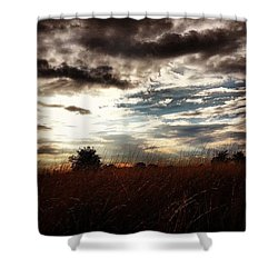 #sunset #dusk #landscape #rural #sky Shower Curtain