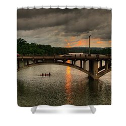 Sunset Fighting Through Shower Curtain by Dave Files