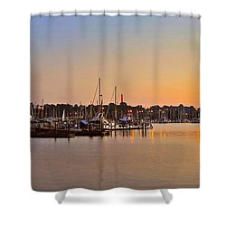 Sunset Fishing Shower Curtain by Frozen in Time Fine Art Photography