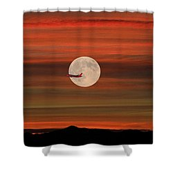 Sunset Flight With Full Moon Shower Curtain