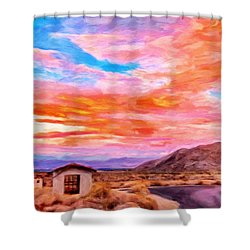 Sunset From Palm Canyon Shower Curtain by Michael Pickett