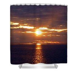 Sunset From Peace River Bridge Shower Curtain by Barbie Corbett-Newmin
