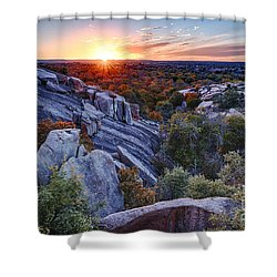Sunset From The Top Of Little Rock At Enchanted Rock State Park - Fredericksburg Texas Hill Country Shower Curtain