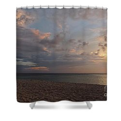 Sunset Grand Cayman Shower Curtain by Peggy Hughes