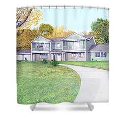 Sunset House In Fall Shower Curtain by Albert Puskaric