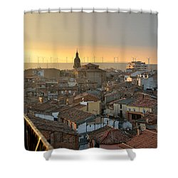Sunset In Calahorra From The Bell Tower Of Saint Andrew Church Shower Curtain by RicardMN Photography