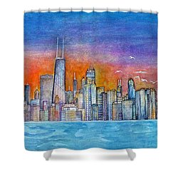Sunset In Chi Town Shower Curtain