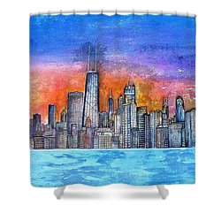 Sunset In Chicago Shower Curtain by Janet Immordino