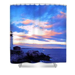 Sunset In Fork Williams Lighthouse Park Portland Maine State Shower Curtain by Paul Ge