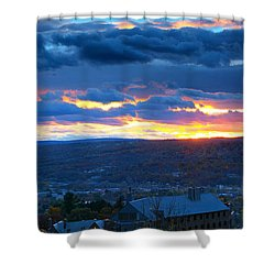 Sunset In Ithaca New York Panoramic Photography Shower Curtain