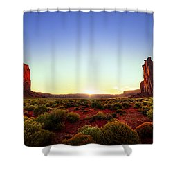 Sunset In Monument Valley Shower Curtain by Alexey Stiop