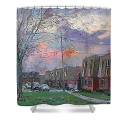 Sunset In Royal Park Apartments Shower Curtain by Ylli Haruni