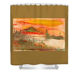 Sunset In Saguaro Desert  Shower Curtain by Mukta Gupta