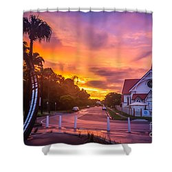 Shower Curtain featuring the photograph Sunset In Sandgate by Peta Thames