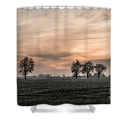 Sunset In The Country - Orange Shower Curtain by Hannes Cmarits