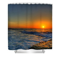Sunset In The Cove Shower Curtain by Dave Files