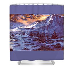 Shower Curtain featuring the painting Sunset Indian Village by Donna Tucker