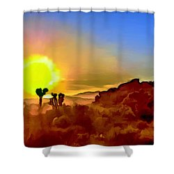 Sunset Joshua Tree National Park V2 Shower Curtain by Bob and Nadine Johnston