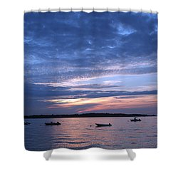 Shower Curtain featuring the photograph Sunset by Karen Silvestri