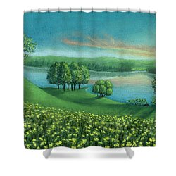 Sunset Lake A Shower Curtain