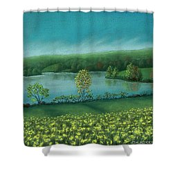 Sunset Lake C Shower Curtain