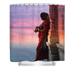 Sunset Lake Colorful Woman Rajasthani Udaipur India Shower Curtain